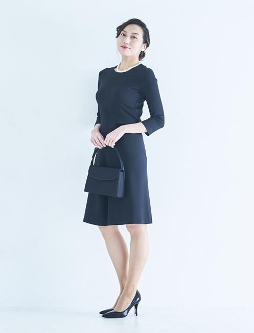 7分袖,ワンピース,ブラック,ブラックフォーマル