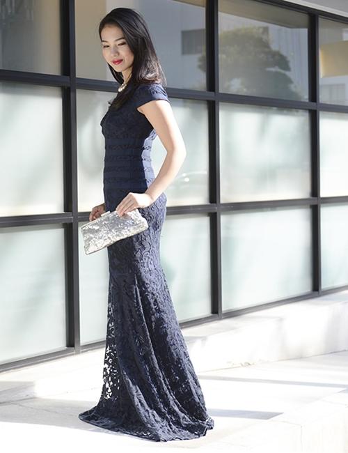 TADASHI SHOJI レース刺繍ロングドレス